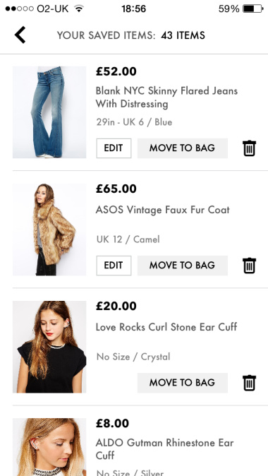 My Asos 'saved' list