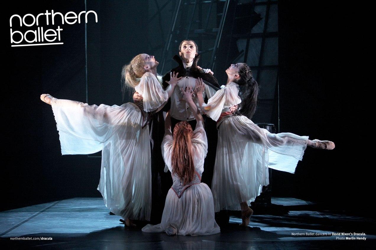 Hannah-Bateman,-Victoria-Sibson-and-Rachael-Gillespie-as-Brides-of-Dracula,-Christopher-Hinton-Lewis-as-Dracula