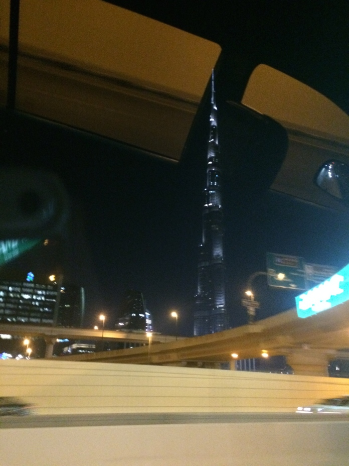 The Burj Khalifa (the tallest building in the world) as my taxi zipped past