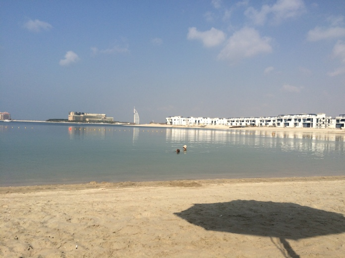 Day One - the private hotel beach at Riva on the Palm. You can see the 'Sail' hotel (Burj al Arabe) in the background