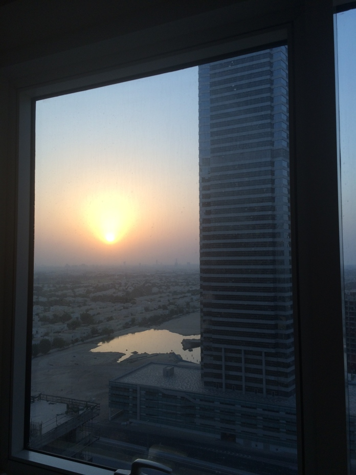 Day Three - sunset from Miss S' flat, and an early start to drive to another Emirate state - Fuijerah