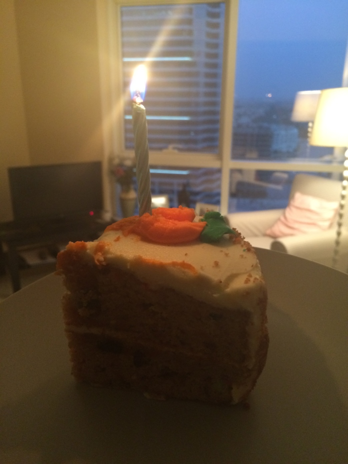 Home time, and Miss S greeted me with carrot cake. Lush