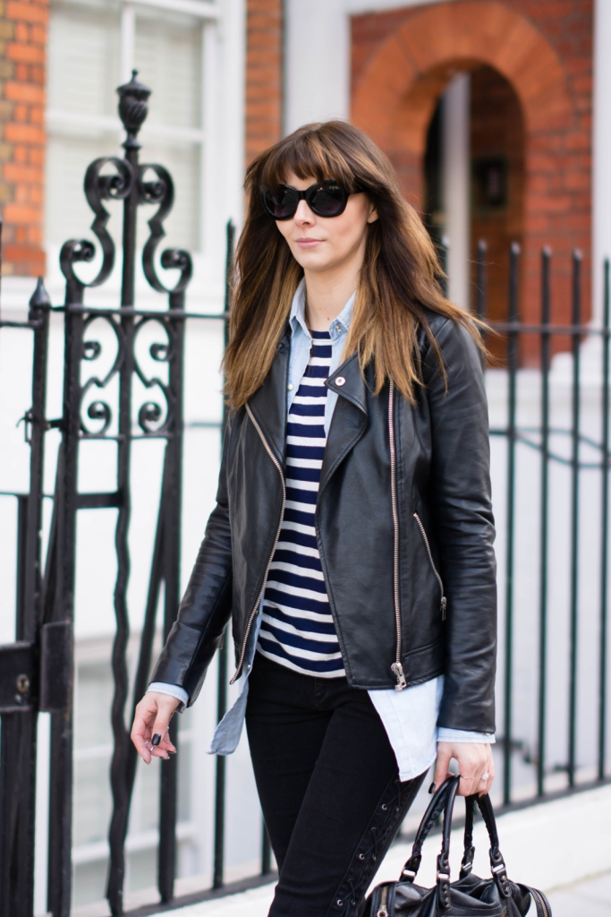 EJSTYLE-Forever-21-faux-leather-biker-moto-jacket-Zara-Denim-shirt-F21-breton-stripe-t-shirt-Forever-21-lace-up-black-skinny-jeans-OOTD-London-street-style-2015-Emma-Hill-fashion-blogger