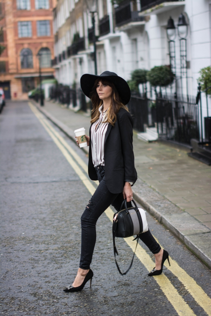 EJSTYLE-New-Look-ripped-parisian-black-skinny-jeans-New-Look-striped-shirt-Dune-Breanna-black-court-shoes-Givenchy-Lucrezia-mini-bag-Topshop-felt-floppy-hat-HM-boyfriend-blazer-monochrome-OOTD-fashion-blogg