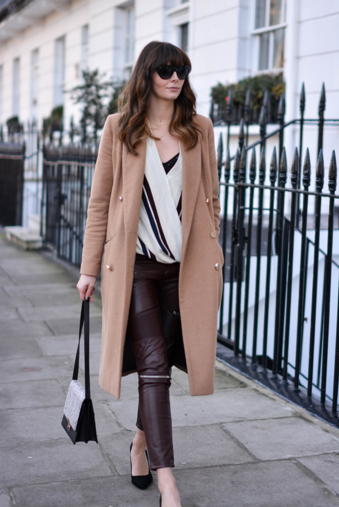 EJSTYLE-Topshop-stripe-drapped-shirt-top-River-Island-camel-coat-Zara-burgundy-biker-trousers-faux-leather-Snakeskin-shoulder-bag-OOTD-fashion-blogger-Daily-outfit
