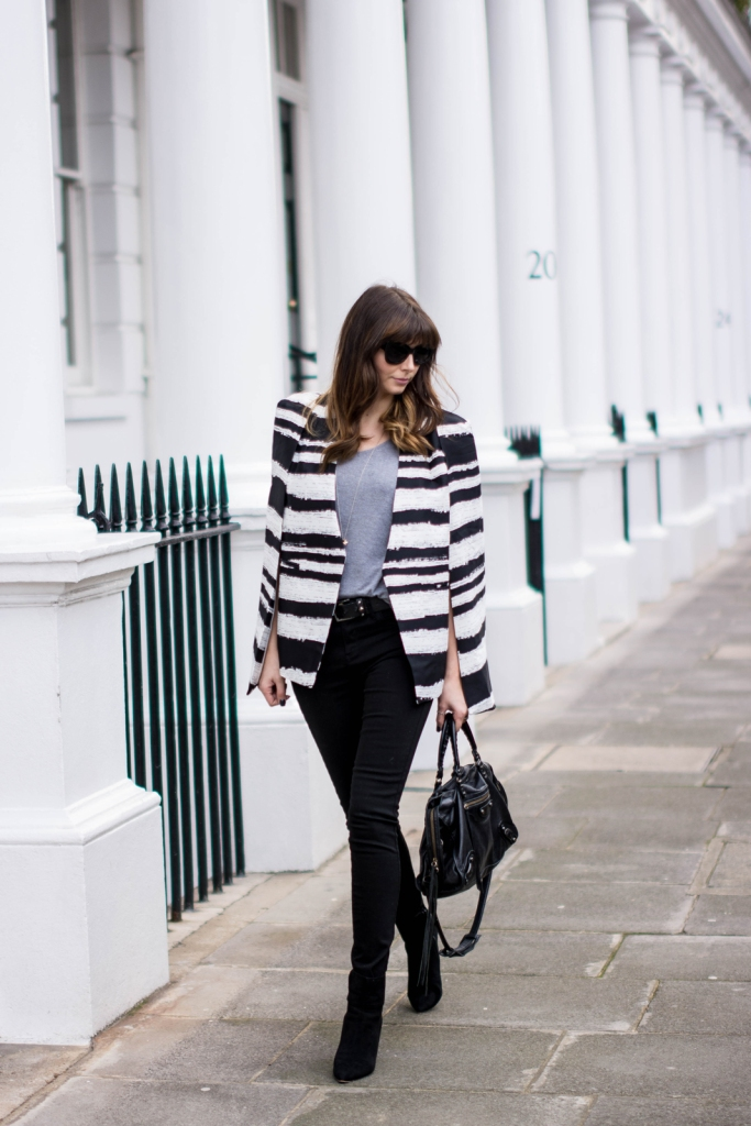 EJSTYLE-Emma-Hill-Fashion-Blogger-Lavish-Alice-black-white-cape-blazer-stripe-cape-blazer-cat-eye-sunglasses-ASOS-River-Island-super-skinny-jeans-black-Grey-basic-tshirt-Dune-Naturally-boots-Balenciaga-city